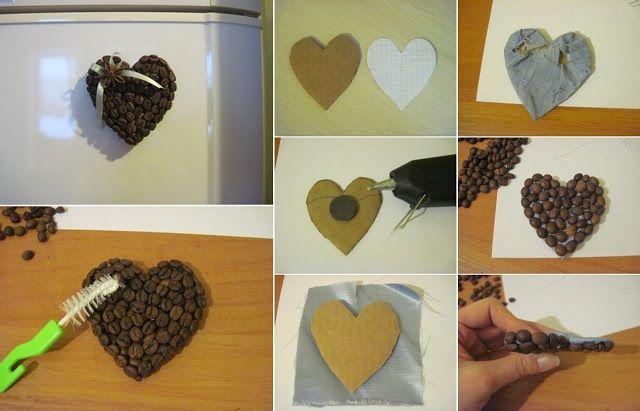 Diy Projects: DIY Coffee Bean Heart Fridge Magnets
