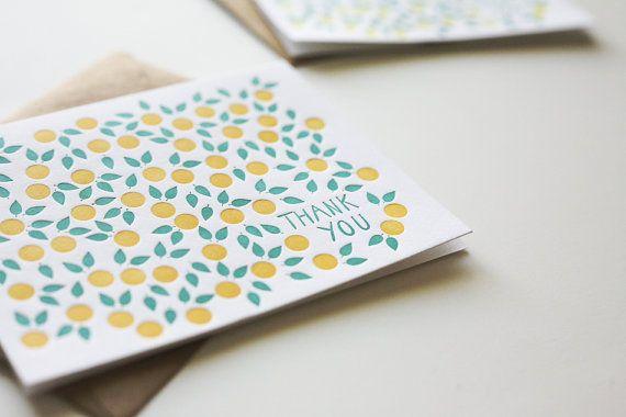 citrus letterpress thank you cards