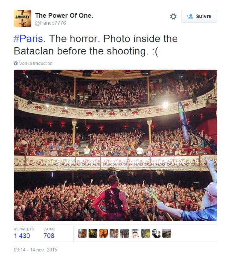 Annoncée par beaucoup comme une photo de la soirée au Bataclan d'hier soir avant le massacre, elle a en fait été prise à l'Olympia Theatre de Dublin le 10 novembre.