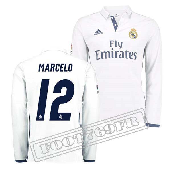 8477c195a68 ... Maillot De Foot Real Madrid Manche Longue Homme Nouveau Maillot Marcelo  12 Blanc 2016 2017 ...