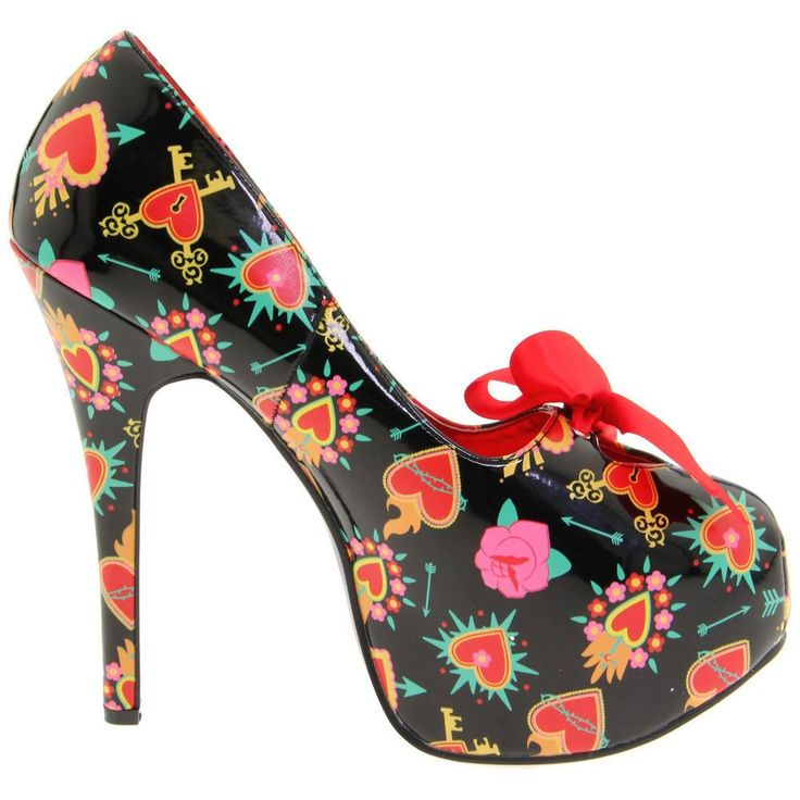 Pinup Couture Teeze-12-2 Womens Stiletto Heel Hidden Platform Pump Satin Bow Tie