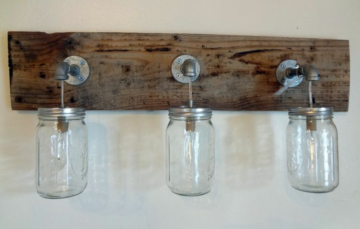 Perfect Bathroom Vanity Lights  Then Hang Your Light Fixture Here Its Shown Above The Mirror But You Can Just As Well Make Two And Place Them Verticallyfound On Boxycolonial And Heres How You Can Make Your Own Mason Jar Vanity Light