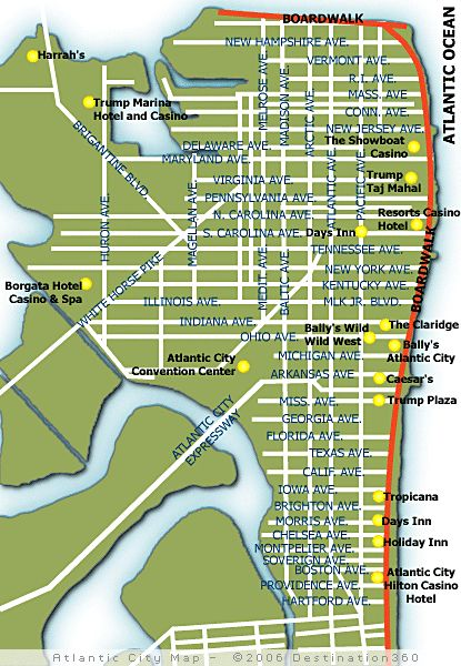 Atlantic City Map to use for Atlantic City Restaurant Week 2014, March 2-8th!
