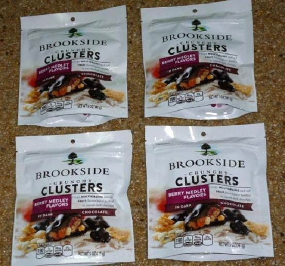BROOKSIDE Dark Chocolate Crunchy Clusters Berry Medley Fruit 7 oz LOT of 4 #Brookside