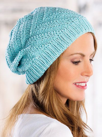 Knitting pattern for Moving Currents Hat Knit Pattern - Slouchy beanie with a chevron pattern. Quick and easy to knit, making it a great last-minute gift. (affiliate link) tba