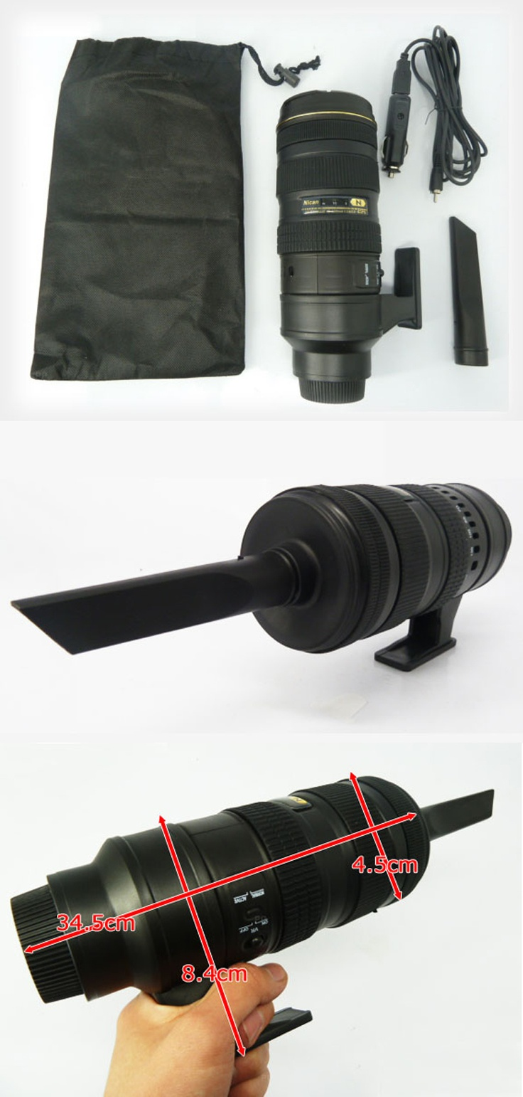 Portable Vacuum Cleaner in the Shape of a Nikon 70-200mm Lens.  $35