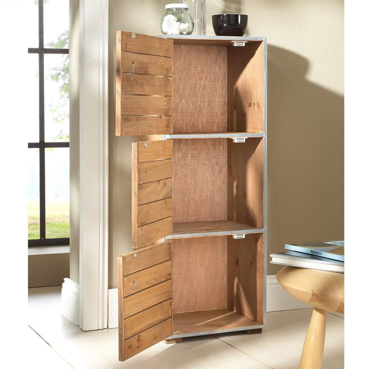 Cabinet new york loft style with 3 drawers brown for Diy storage furniture