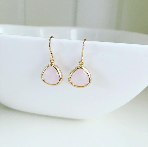 Blush earrings bridesmaid earrings blush pink earrings