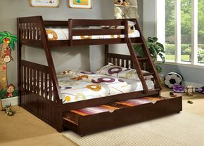 The walnut twin over full bunk bed from the Mack collection. #twinfullbunkbeds