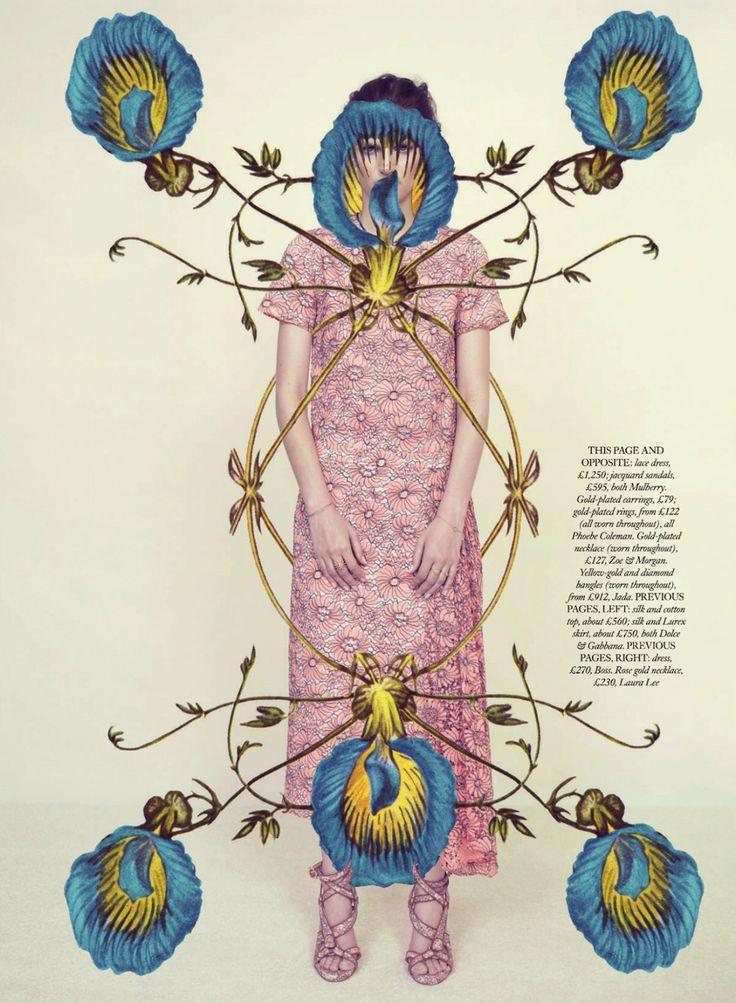 Fahion Illustration-art collage-mailart-editorial-: meadow sweet: hirschy hirschfelder by elena rendina for uk harper's bazaar ma...