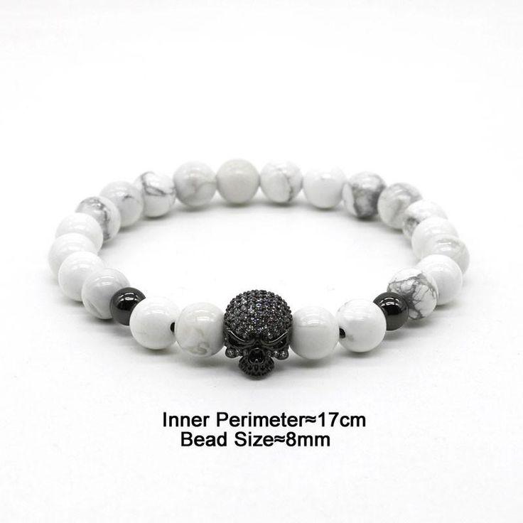 White Labradorite Beaded Skull Bracelet