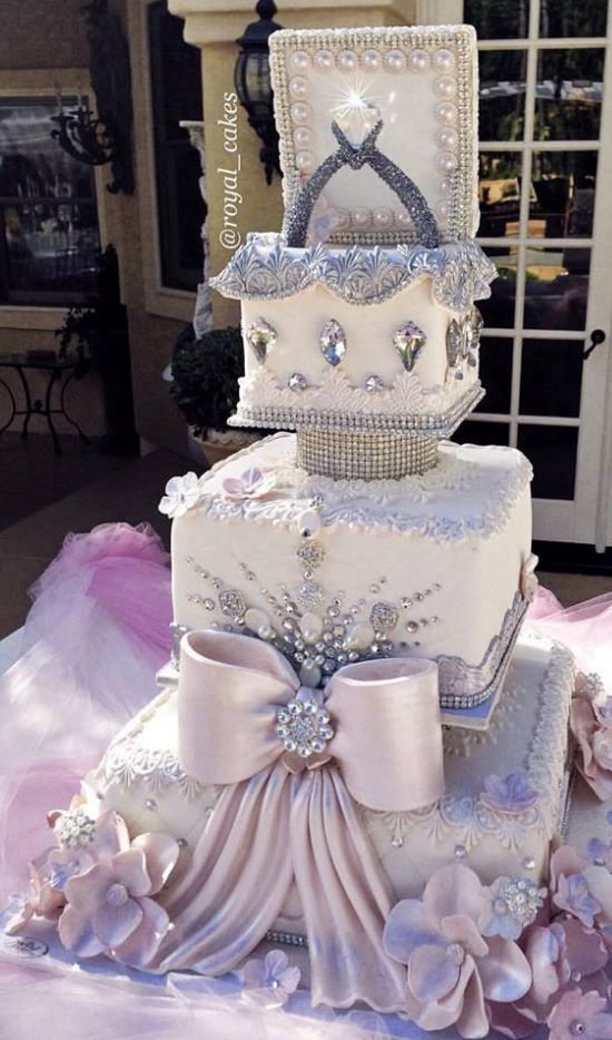 Featured Cake: Royal Cakes & Designs; Wedding cake idea.