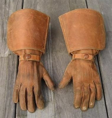 1930s leather gauntlet motorcycle gloves @Susan Caron Caron Caron Brunner -for brian and his cowboy boots!