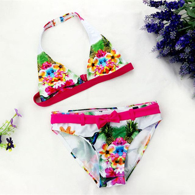 Girls Two-Piece Bikini Swimwear Biquini Infantil Swimming Suit For Girls Kids Swimsuit Ages 6-16
