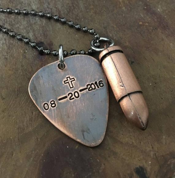 Custom boyfriend gift, boyfriend gift personalized, custom gift, boyfriend necklace, hand stamped, antique bullet, guitar pick necklace
