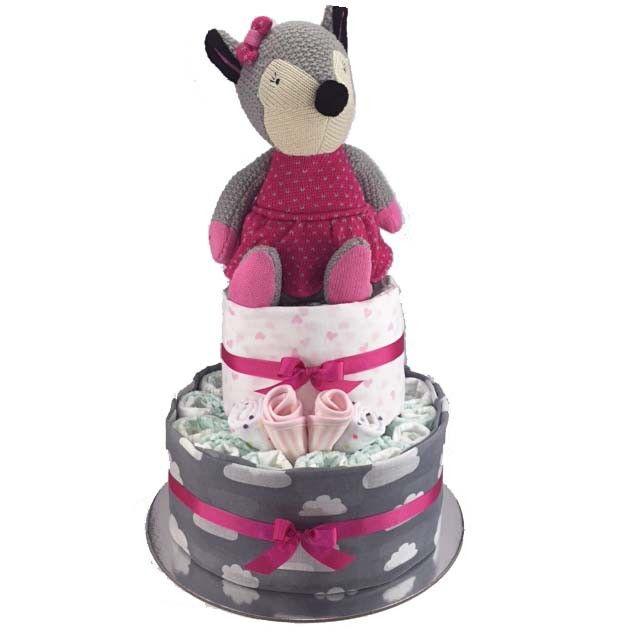 Foxy Girl Nappy Cake - 2 Tier