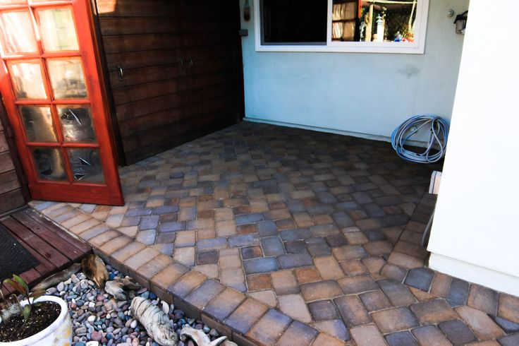 Pavescapes backyard overlay remodel. Pavers were applied to patio area.   *Paver color shown is Catalina #naturalstone #pavers #remodel #construction
