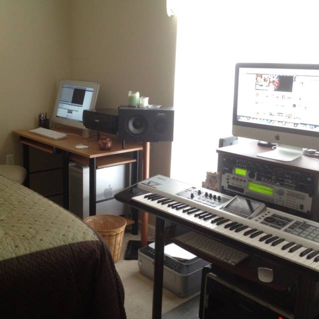 My film score and music production suite running Final Cut Pro HD on a Mac G-5 and Logic Studio Pro on an iMac.