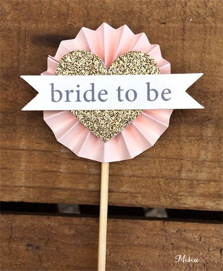 Bridal Shower Cupcake Toppers- Pink Gold