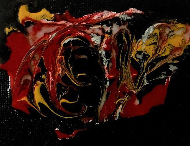 """tableau abstrait """"démon de minuit"""" mix média sur mini chassis toile : Peintures par danyrocherleroi"""
