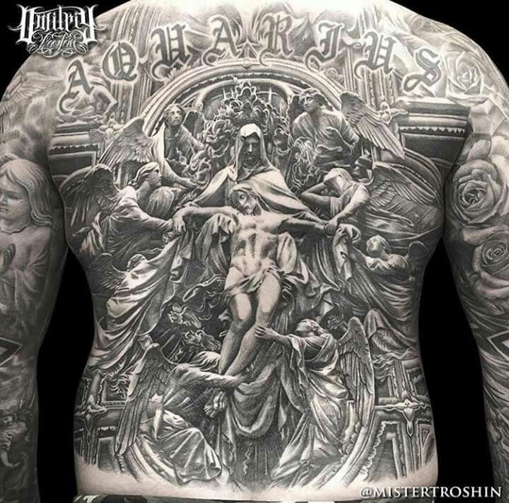 Tattoo by Dimitry Troshin | Detailed  Complete Full Back Piece | Black & Grey | tattoofreakz.com