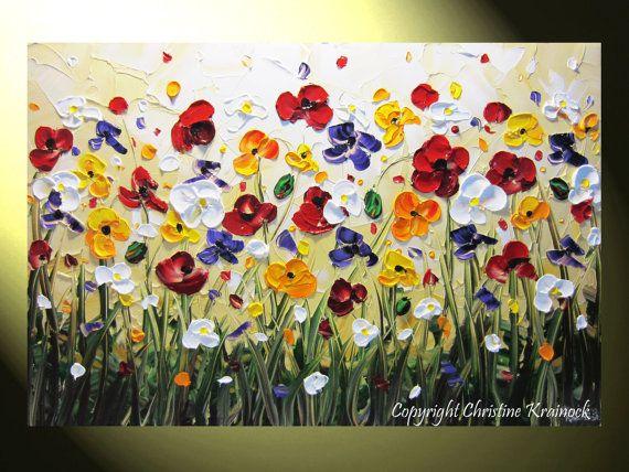 ORIGINAL Art Abstract Painting Poppy Flowers by ChristineKrainock