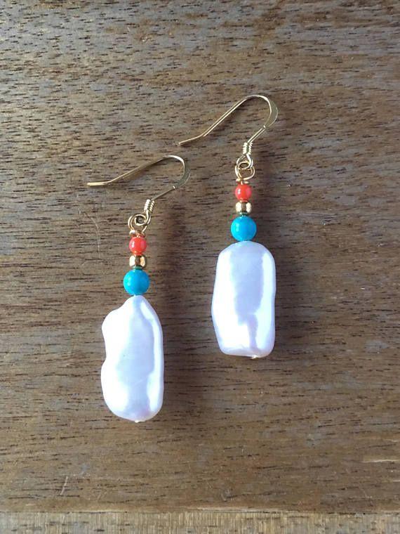 Pearl Earrings Turquoise Earrings Genuine Coral Earrings
