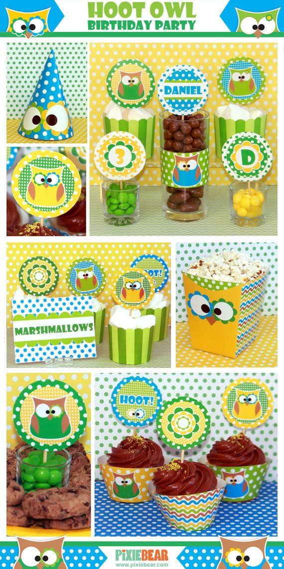 Owl Birthday Party Birthday Printables by PixieBearParty on Etsy #owlparty #decorations