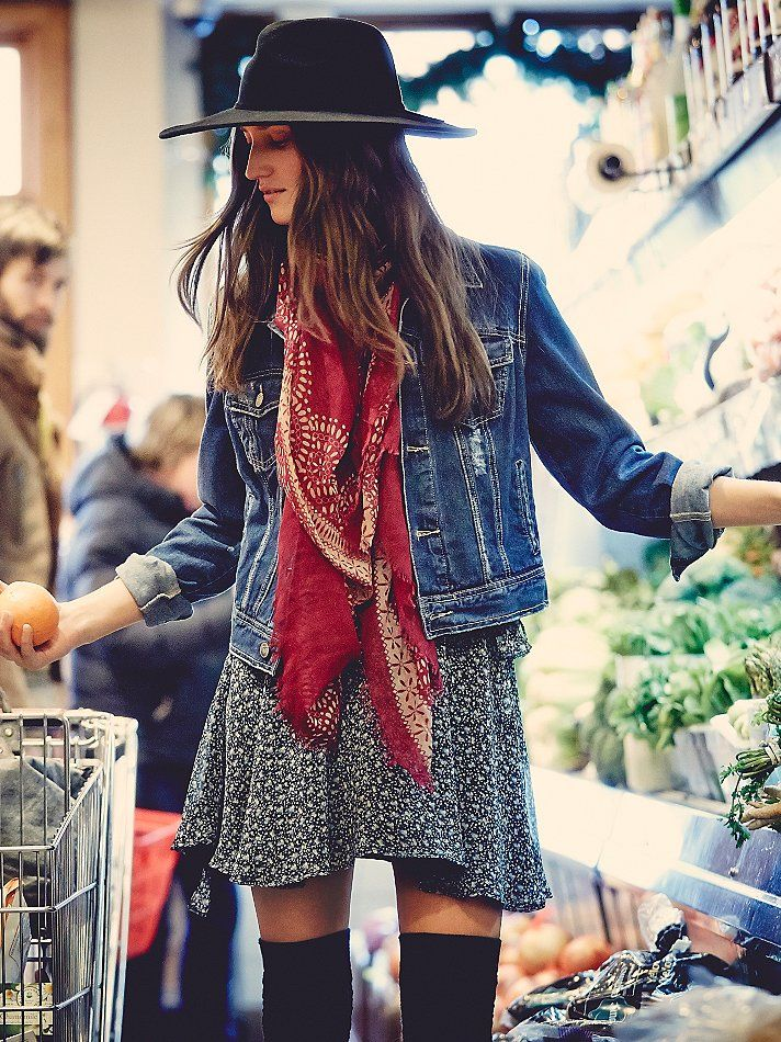 At 37, am I too old to rock this look? Free People Love Always FP Denim Jacket, $98.00 Dress, Denim Jacket, knee highs, boots, black hat