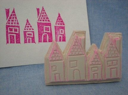 Cool handmade little house stamp from HippieMade on Etsy.