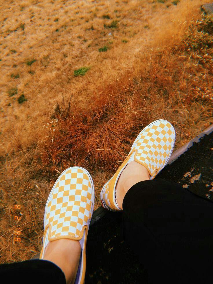 Pin By Elizabeth Alvarez On Shoes Yellow Vans Checkered Shoes Vans