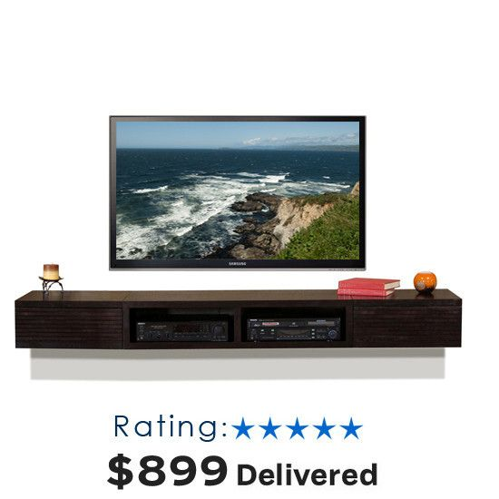 """Wall Mounted TV Stand - Mayan Espresso $899.00 Total Dimensions: 82""""W x 16.5""""D x 9""""H"""