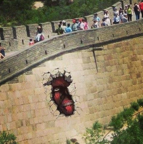 the great wall of china is made of colossal titans