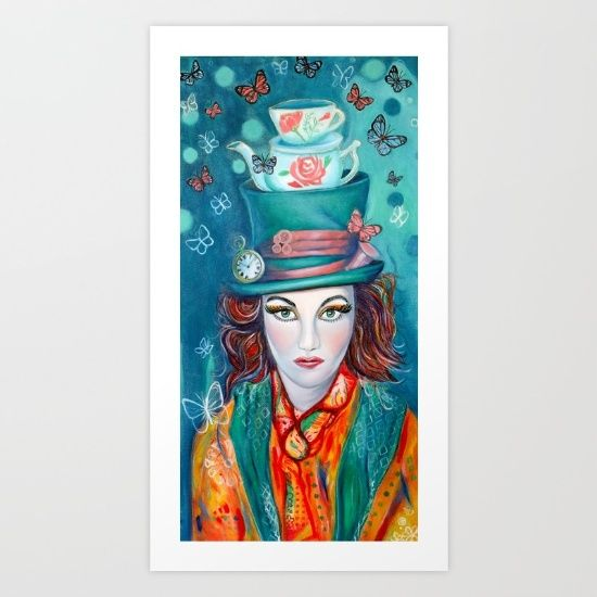 MAD HATTER PRINT:Collect your choice of gallery quality Giclée, or fine art prints custom trimmed by hand in a variety of sizes with a white border for framing.