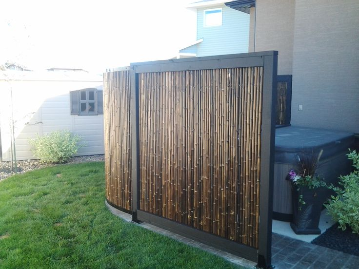 Hot tub privacy screen made of bamboo outdoor flowers Patio privacy screen
