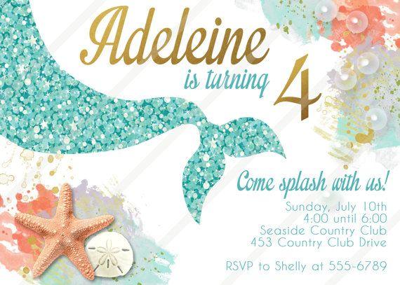 15 best Little mermaid invitation images – Mermaid Party Invitations Printable