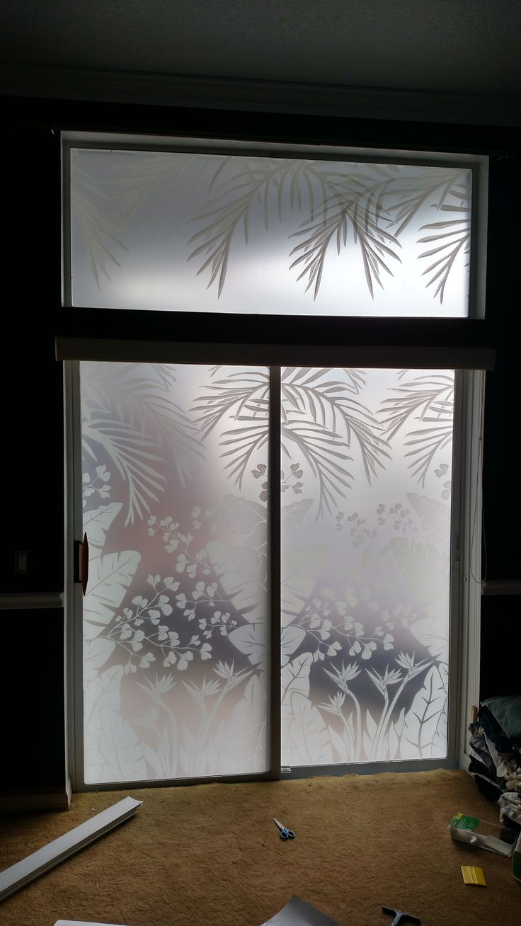 Cling etched glass window decal for - Inside View Tropical Oasis Privacy Windows Film By Wallpaper For Windows