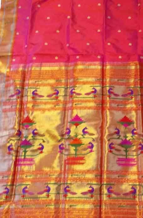 Red Handloom Paithani Pure Silk Saree