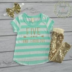 Five and Fabulous Fifth Birthday Girl 5th Birthday Outfit Girl 5th Birthday Shirt Five Year Old Birthday Shirt 5 Year Old Birthday Girl 193