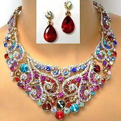 A dramatic crystal necklace set use multicolor crystals to capture the exotic beauty seen Indian wedding jewelry.  The intricate design lies naturally on the neck with sections linked together for a seamless look.  The wholesale price is incredibly low.  Click the link to see wholesale crystal necklace sets with variety to please the many personalities of your clientele.  http://www.awnol.com/store/Crystal-Jewelry/Crystal-Necklaces
