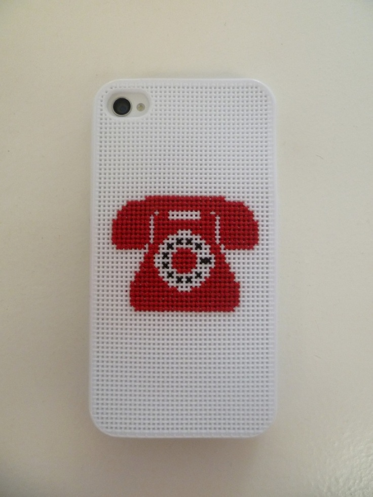 Cross Stitch iPhone Case - Telephone - White - 4 & 4S