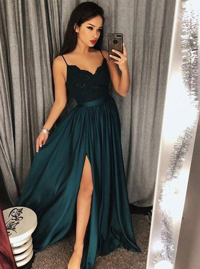 c5b8603c47c A-Line Spaghetti Straps Dark Green Prom Dress with Appliques Split ...