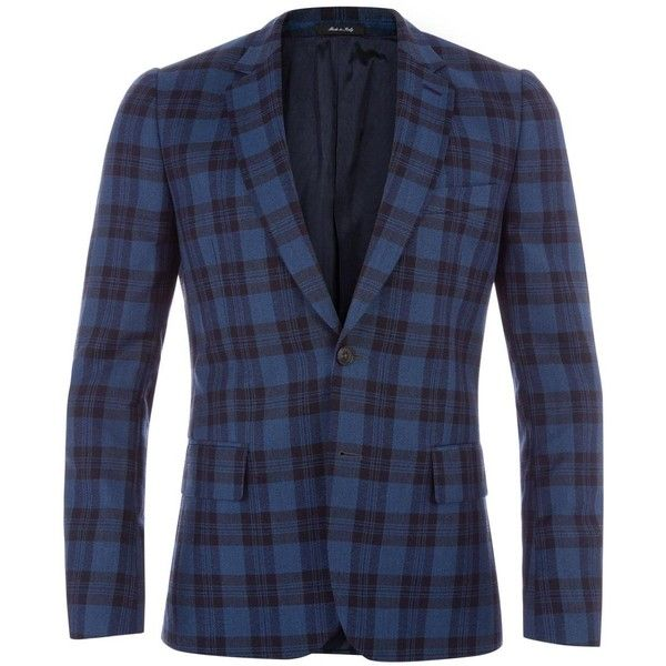 Paul Smith Men's Tailored-Fit Blue Check Wool-Linen Blazer (£645) ❤ liked on Polyvore featuring men's fashion, men's clothing, men's sportcoats, men, mens one button blazer, mens blazer jacket, mens clothing, mens apparel and linen mens clothing