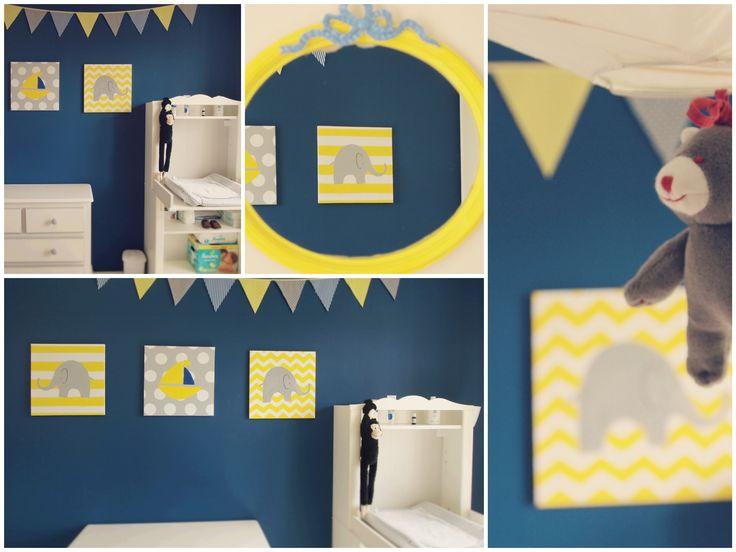 Les 31 meilleures images propos de chambre milieu sur pinterest chambres jaunes ruban for Chambre bebe gris bleu jaune