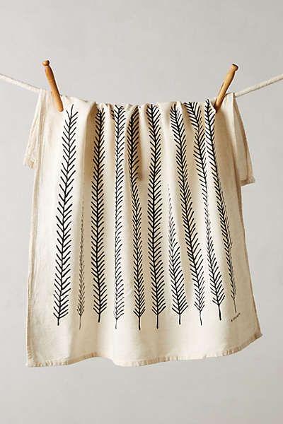 Anthropologie - Fringed Feathers Dishtowel
