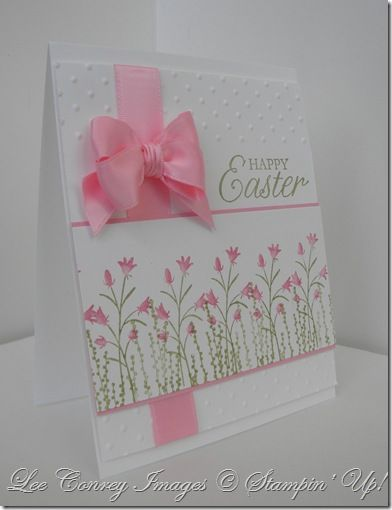 Stampin' Up! ... hand crafted Easter card ... gorgeous perfect pink bow ... great layout ... would be a great Mother's Day card by changing the sentiment ...