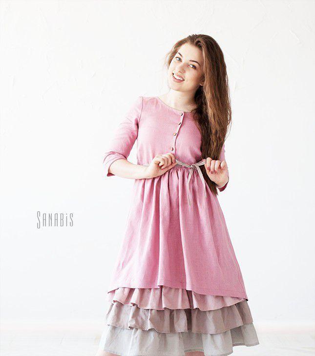 Купить Многослойное платье из льна «Пыльно-розовое» - брусничный, однотонный, пыльно-розовый, платье
