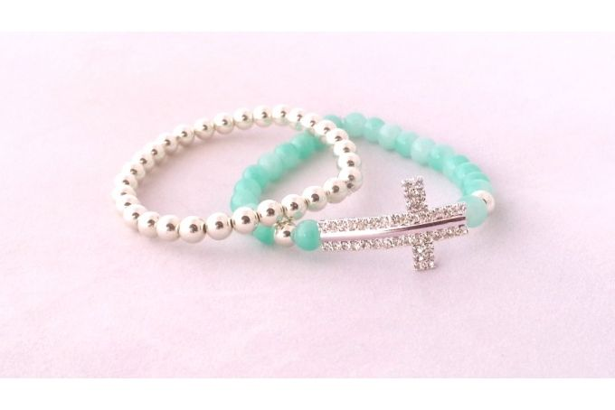 Turquoise and silver Rhinestone cross combo by Blossom Accessories