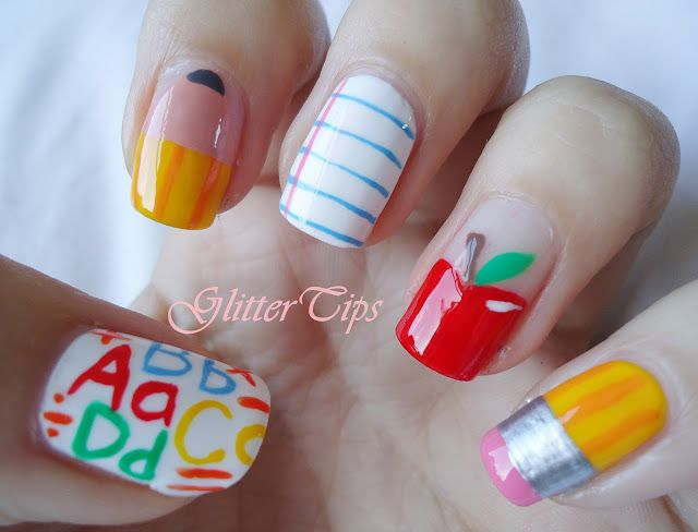 Glitter Tips: Back To School Nails