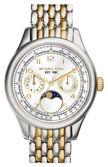 MICHAEL Michael Kors Michael Kors 'Amelia' Moon Phase Bracelet Watch, 38mm available at #Nordstrom